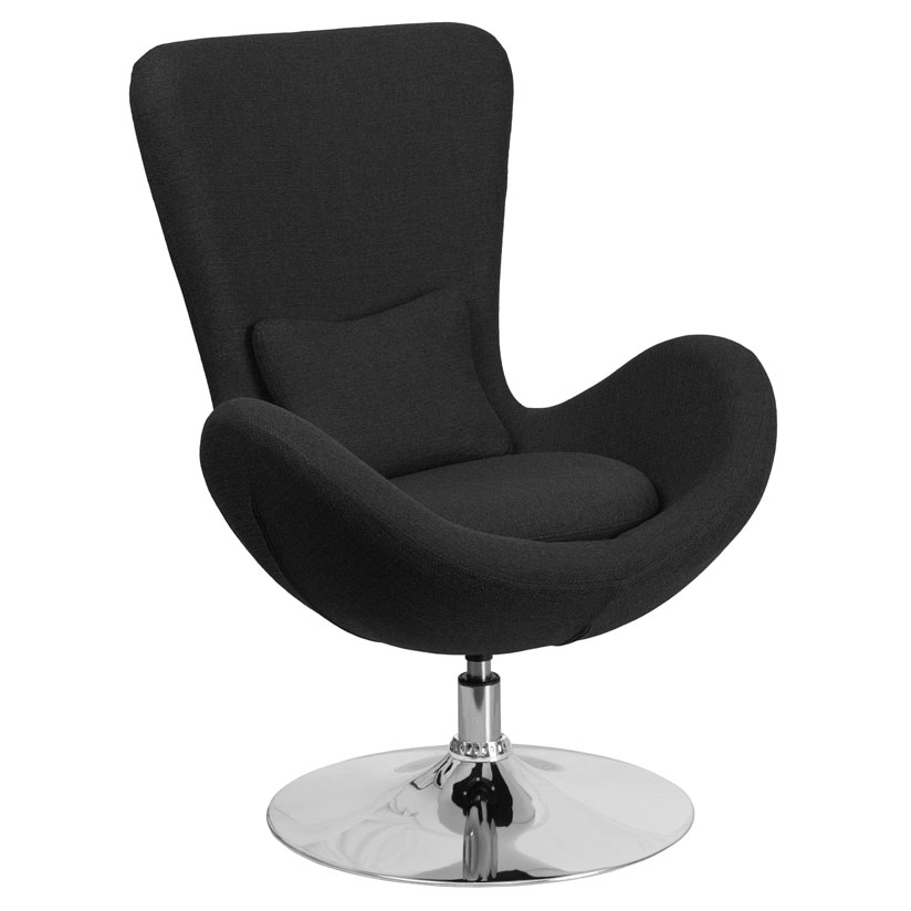 Paradigm Shift Black Fabric + Chrome Swivel Base Modern Lounge Chair