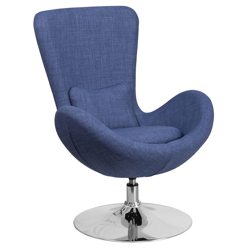 Paradigm Shift Blue Fabric + Chrome Swivel Base Modern Lounge Chair