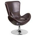 Paradigm Shift Brown Leatherette + Chrome Swivel Base Modern Lounge Chair