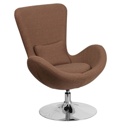 Paradigm Shift Brown Fabric + Chrome Swivel Base Modern Lounge Chair