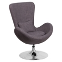 Paradigm Shift Dark Gray Fabric + Chrome Swivel Pedestal Modern Lounge Chair