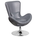 Paradigm Shift Gray Leatherette + Chrome Swivel Base Modern Lounge Chair