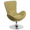 Paradigm Shift Green Fabric + Chrome Swivel Base Modern Lounge Chair