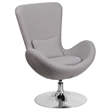 Paradigm Shift Light Gray Fabric + Chrome Swivel Pedestal Modern Lounge Chair