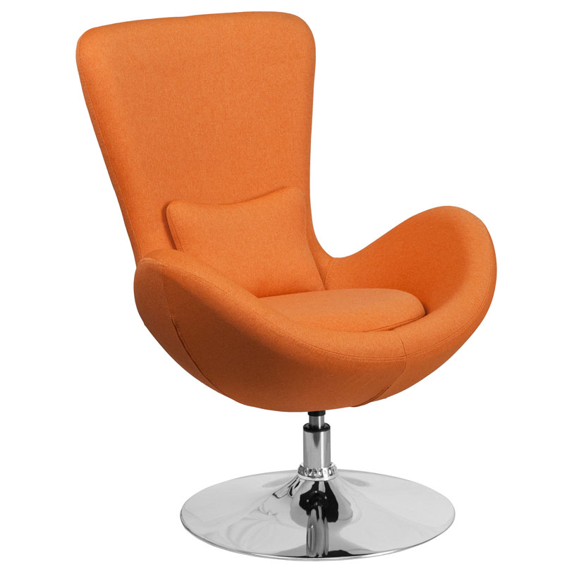 Call To Order Paradigm Shift Orange Fabric Chrome Swivel Base Modern Lounge Chair