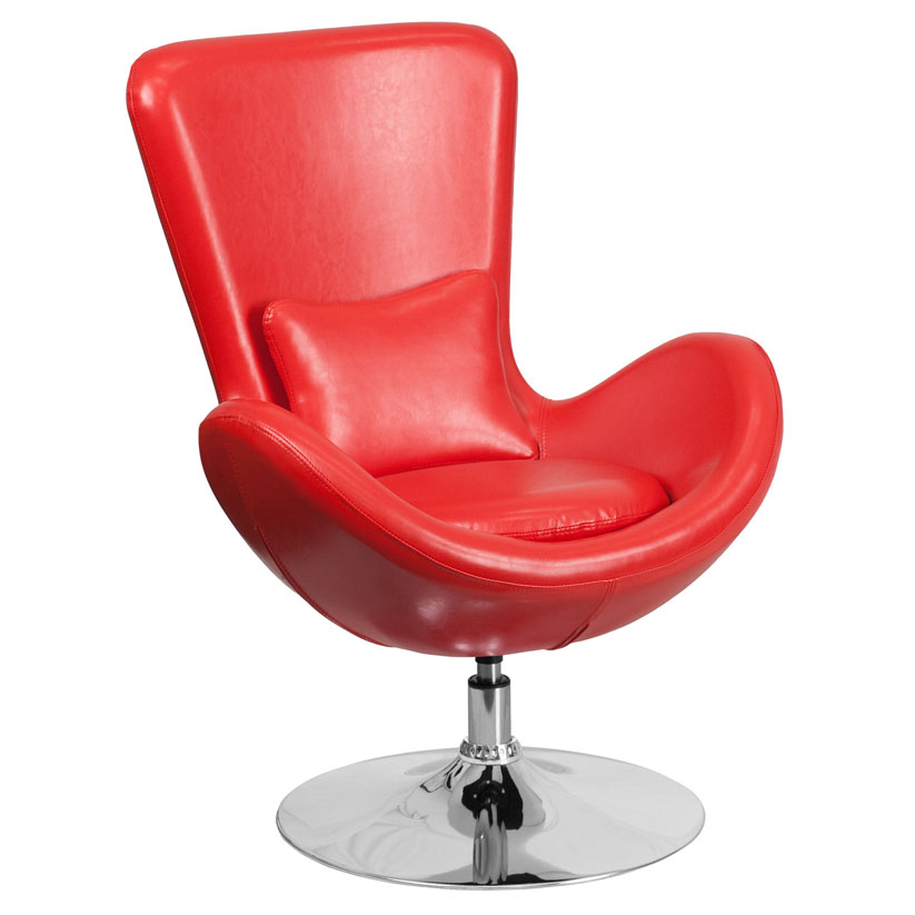 Paradigm Shift Red Bonded Leather + Chrome Swivel Base Modern Lounge Chair