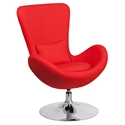 Paradigm Shift Red Fabric + Chrome Swivel Base Modern Lounge Chair