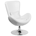 Paradigm Shift White Leatherette + Chrome Swivel Base Modern Lounge Chair