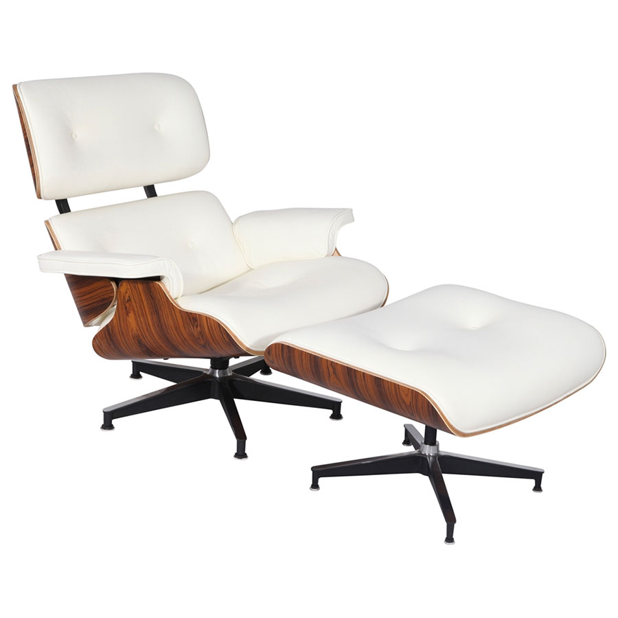 Paragon Modern Classic White Leather Lounge Chair + Ottoman