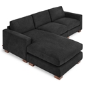 Gus* Modern Parkdale Contemporary Bi-Sectional in Vintage Mineral Fabric Upholstery with Solid Wood Feet