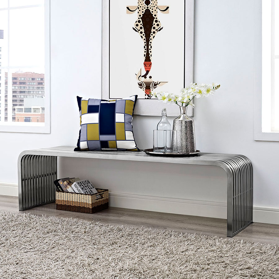 ... Parliament Contemporary Long Stainless Steel Bench