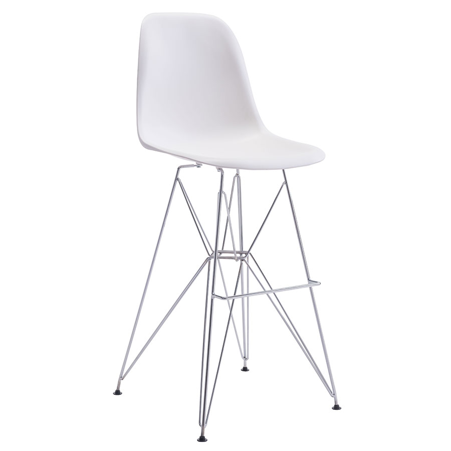 Pasadena White Modern Bar Stool