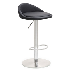 Pascal Black Adjustable Contemporary Stool