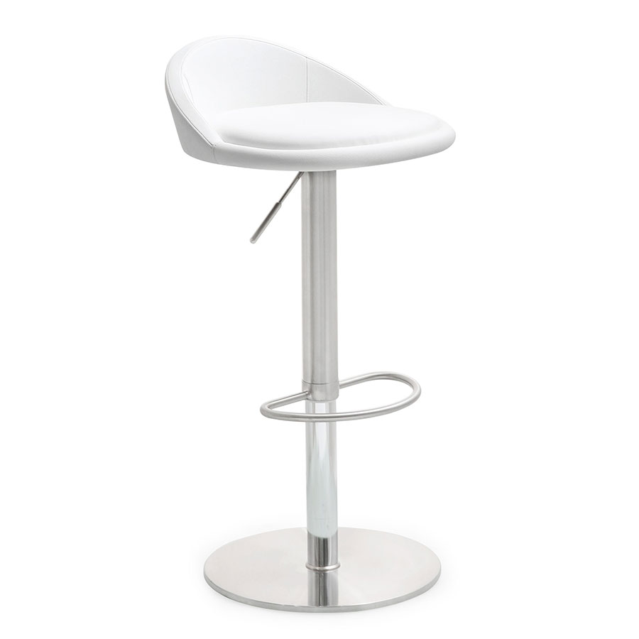 Pascal White Adjustable Modern Stool