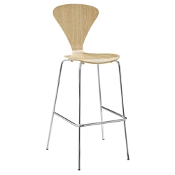 Pascal Natural Plywood + Chromed Steel Modern Bar Stool