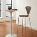 Pascal Walnut Plywood + Chromed Steel Modern Bar Stool - Room Setting