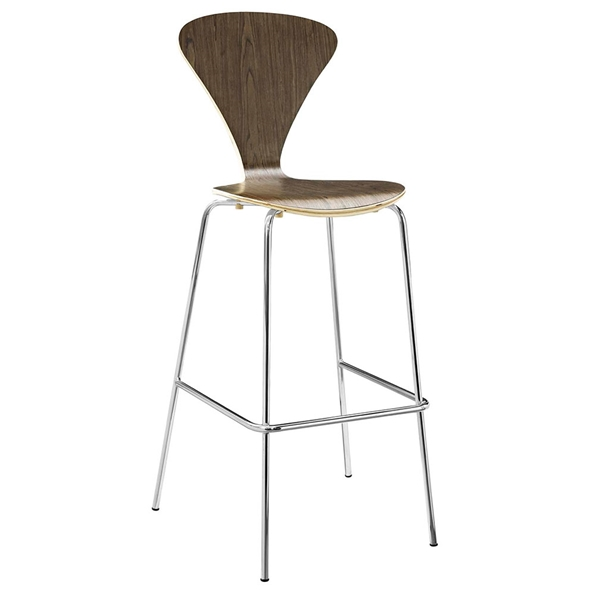 Pascal Walnut Plywood + Chromed Steel Modern Bar Stool