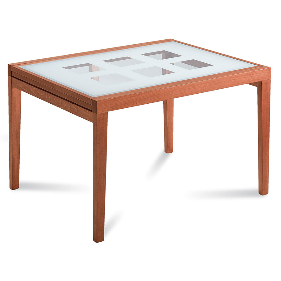Patrice modern long cherry ext dining table eurway for Long modern dining table