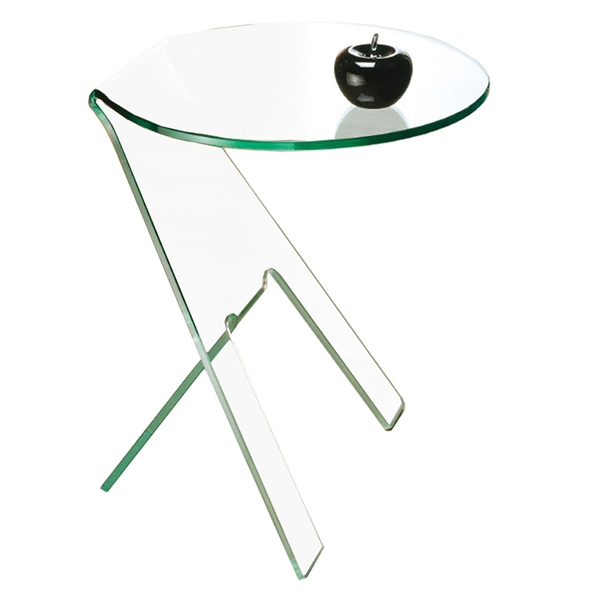 Pattison Clear Bent Glass Modern End Table