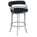 Paula Black + Brushed Steel Modern Bar Stool