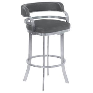 Paula Gray + Brushed Steel Modern Bar Stool