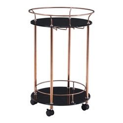 Pavel Rose Gold Steel + Black Tempered Glass Modern Bar Serving Cart