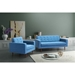 Pekko Blue Fabric + Toon Wood Contemporary Lounge Chair
