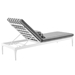 Persist Modern Gray + White Outdoor Chaise Lounge - Back View