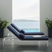 Persist Contemporary Navy + White Outdoor Chaise Lounge