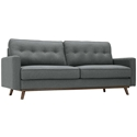 Perth Button Tufted Modern Gray Fabric Sofa