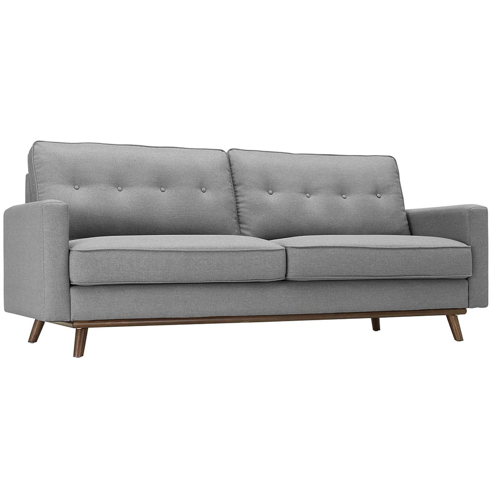 Perth Button Tufted Modern Light Gray Fabric Sofa