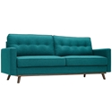 Perth Button Tufted Modern Teal Fabric Sofa
