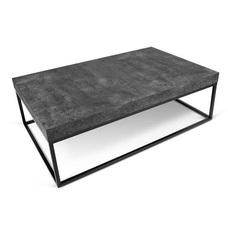 Petra Rectangular Contemporary Coffee Table in Faux Concrete + Black by TemaHome