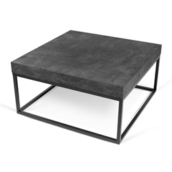 Petra Square Contemporary Faux Concrete + Black Coffee Table by TemaHome