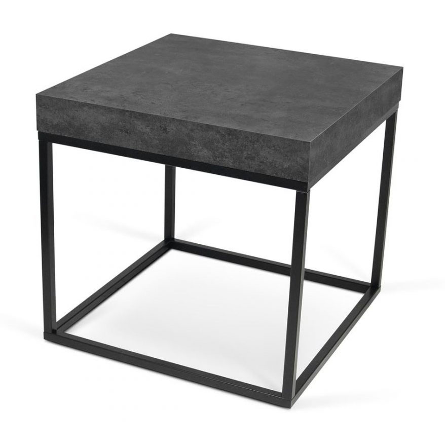 Petra Modern End Table in Faux Concrete + Black Steel by TemaHome