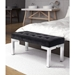 Petunia Black Poly-Velvet + Brushed Steel Modern Bench