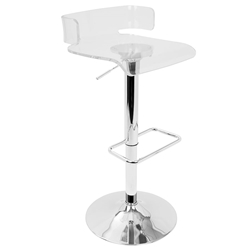 Phantasm Clear Acrylic + Chrome Metal Contemporary Adjustable Height Stool