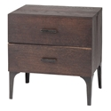 Pharr 2 Drawer Seared Oak + Black Iron Modern Nightstand + End Table