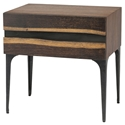Pharr Seared Oak + Black Iron Modern Nightstand + End Table