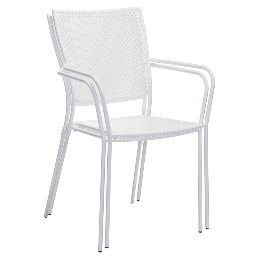 Phoebe White Metal Contemporary Outdoor Dining Chair