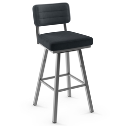Phoebe Modern Bar Stool by Amisco in Magnetite + Blueberry