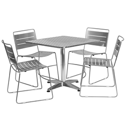 Pierce Indoor/Outdoor Silver Chairs w/ Calais 31.5 Table
