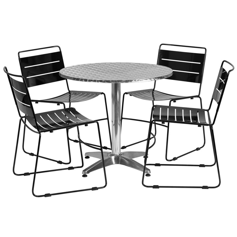Pierce Indoor/Outdoor Black Chairs w/ Calais 31.5 Round Table