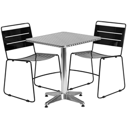 Pierce-Calais Black Square Bistro Set