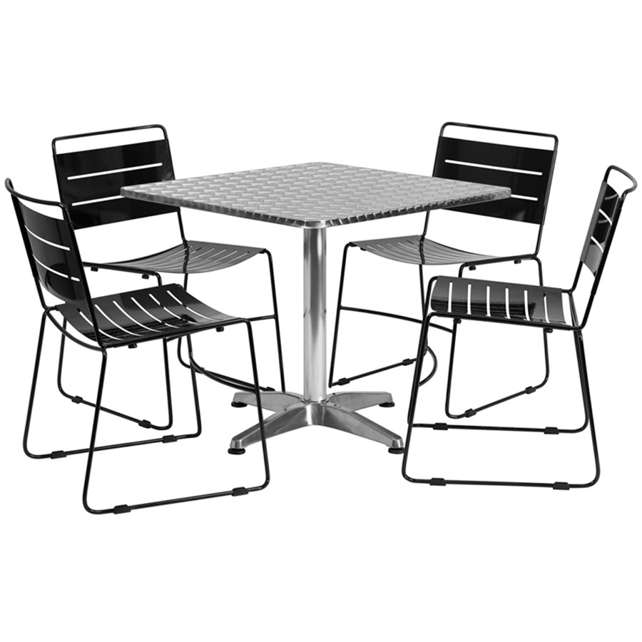 Pierce Indoor/Outdoor Black Chairs w/ Calais 31.5 Table