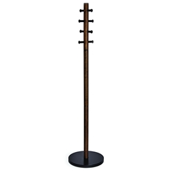 Pillar Modern Black + Walnut Coat Rack by Umbra