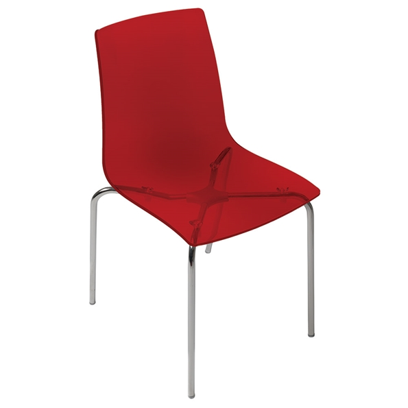 Piper Red + Chrome Modern Dining Chair by Pezzan