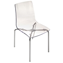 Piper Transparent + Chrome Modern Dining Chair by Pezzan