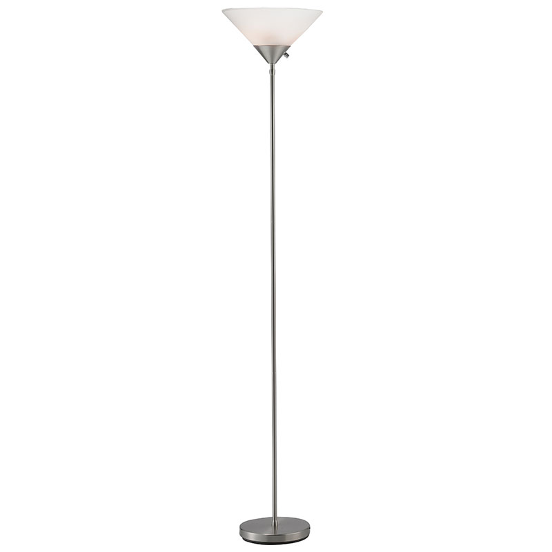 Pixie Modern Torchiere Floor Lamp in Brushed Steel