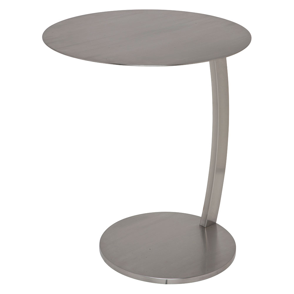 Plano Brushed Steel Round Modern End Table